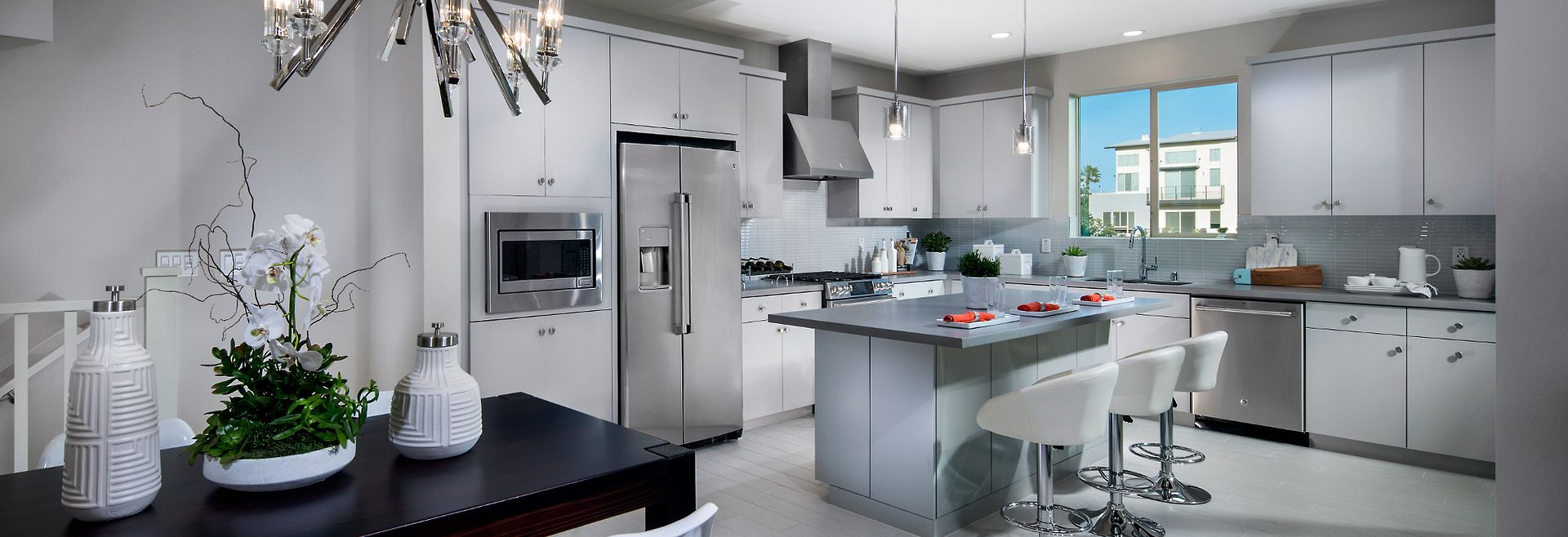Plan 7 Modern Styled Kitchen with Grey Cabinets and Stainless Steel Appliances
