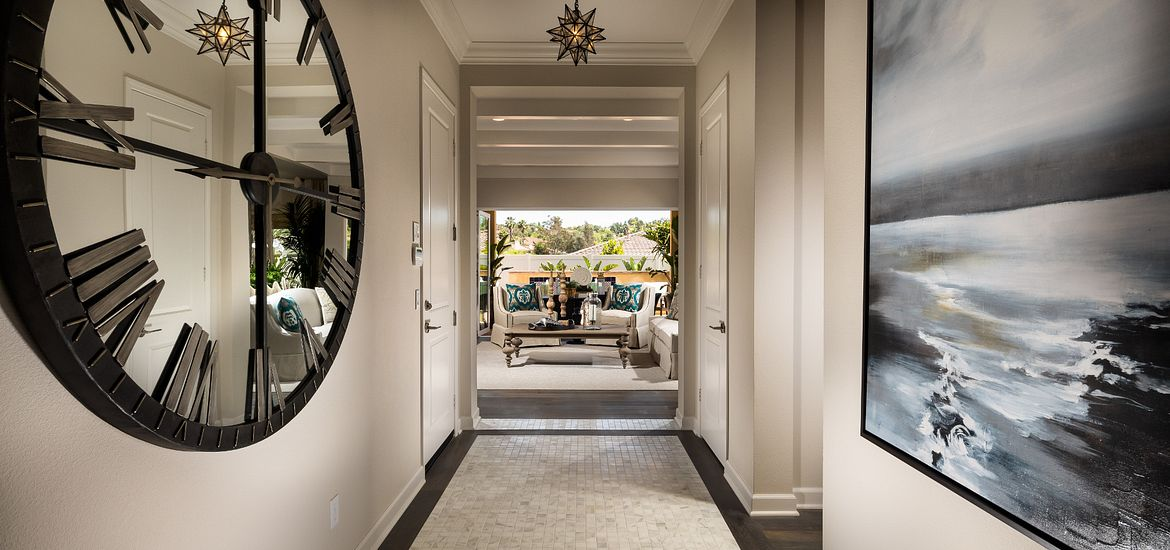 Mirror clock in entryway at Canyon Grove by Shea Homes in Escondido, CA
