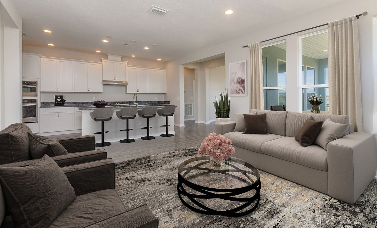 Virtually Staged Great Room in Quick Move In Home at Trilogy Orlando