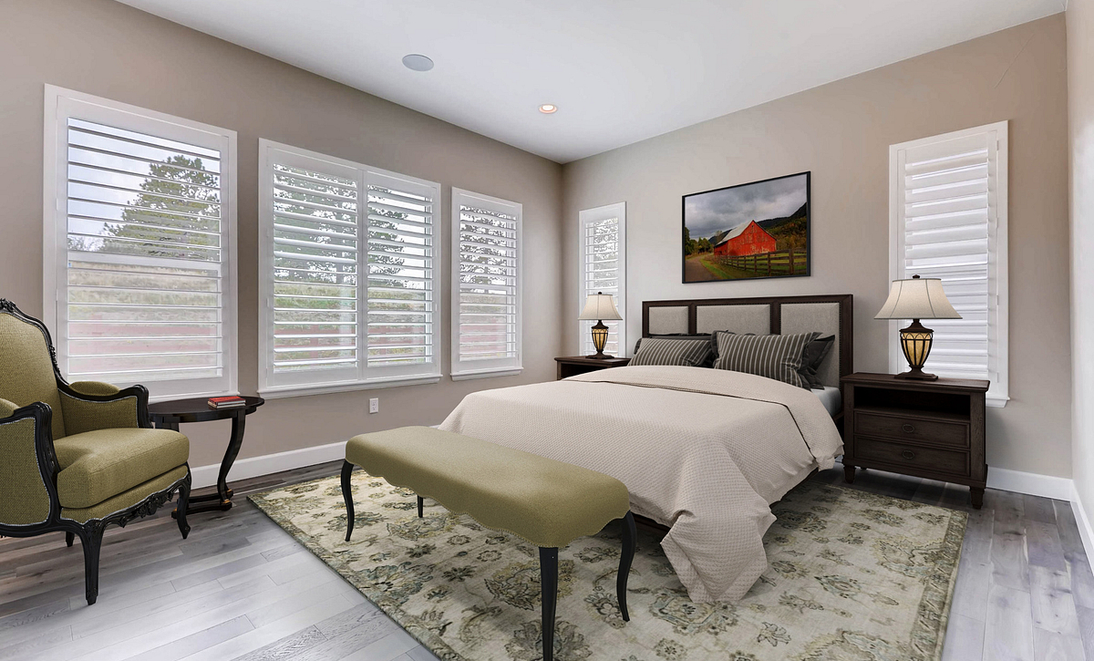 Whispering Pines Woodland Coulter Pine Master Bedroom