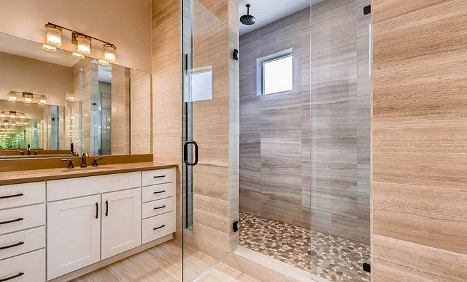 Whispering Pines Woodlands Coulter Pine Master Bath