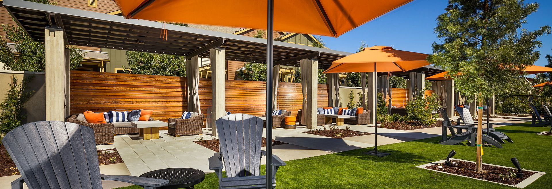 Sage Clubhouse Lawn Chair with Umbrella and Outdoor Cabanas