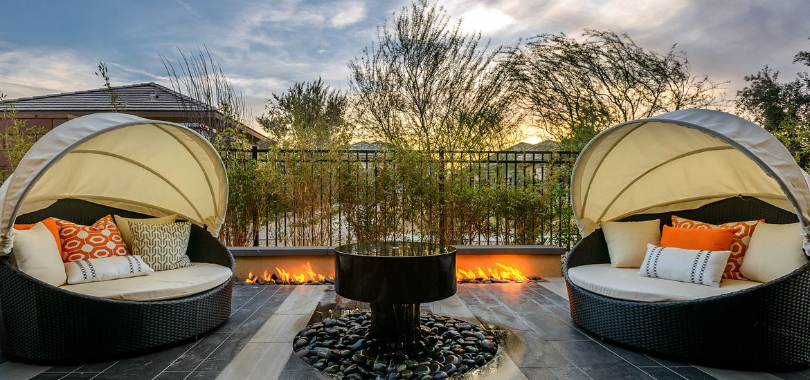 Outdoor seating area at Trilogy at The Polo Club by Shea Homes in the Palm Springs, CA area