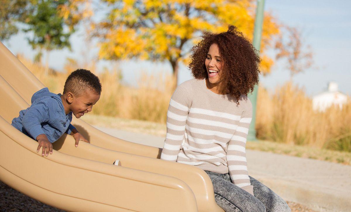 Reunion Community Mom Son Playground Slide