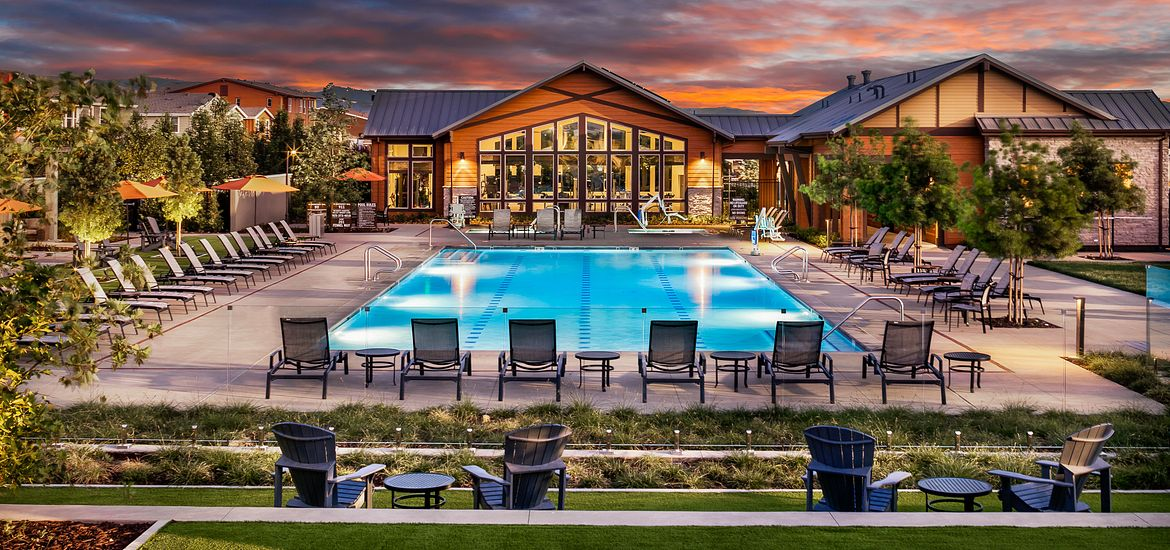 Outdoor look at Sage community with pool area and green areas in northern California
