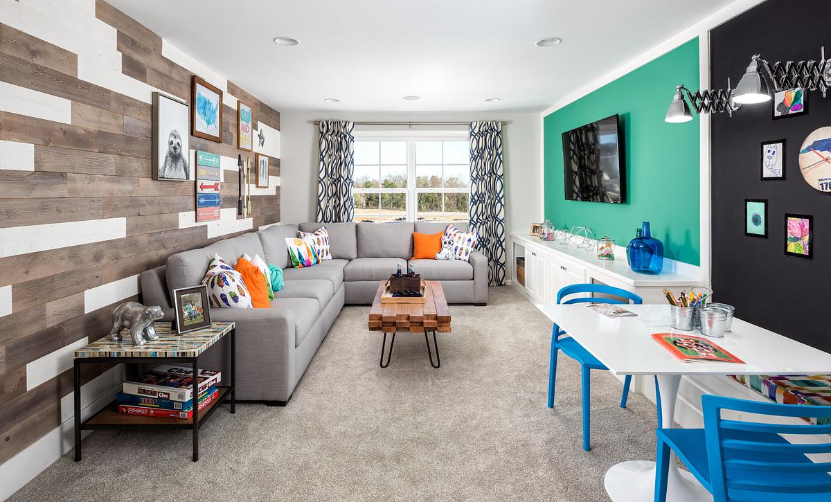 Rec Room with Built-Ins