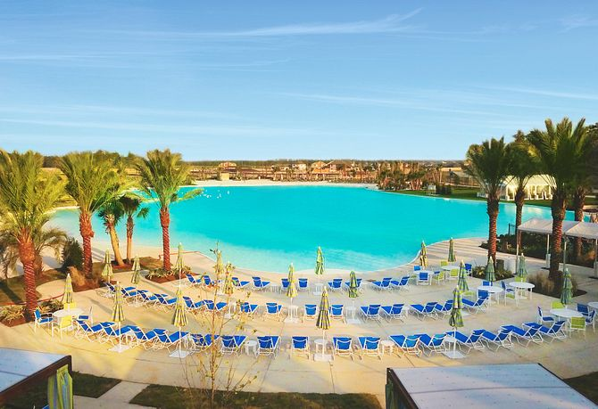 View of the Balmoral Crystal Lagoon in Humble, TX