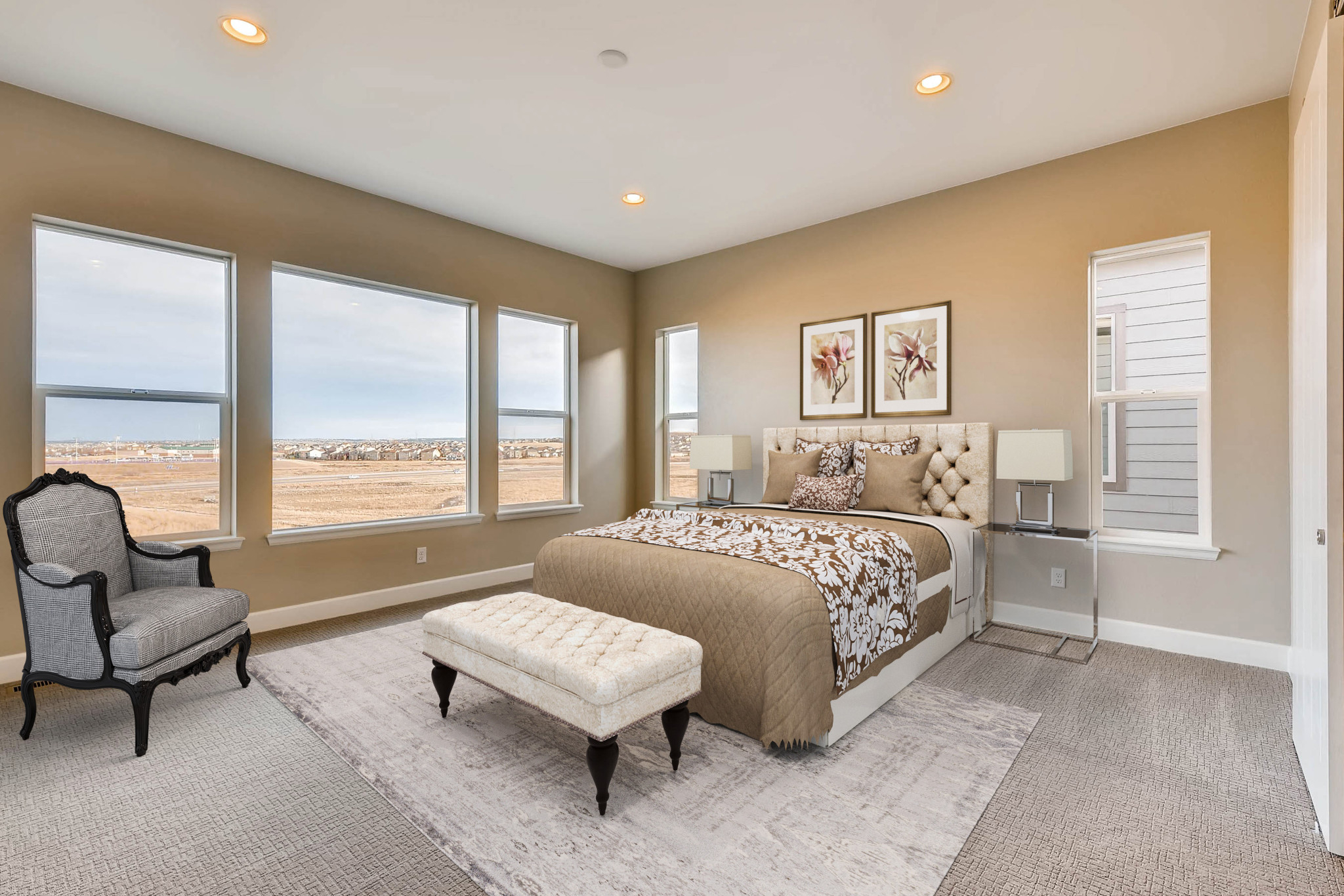 Stepping Stone Watercolor Wisteria Master Bedroom
