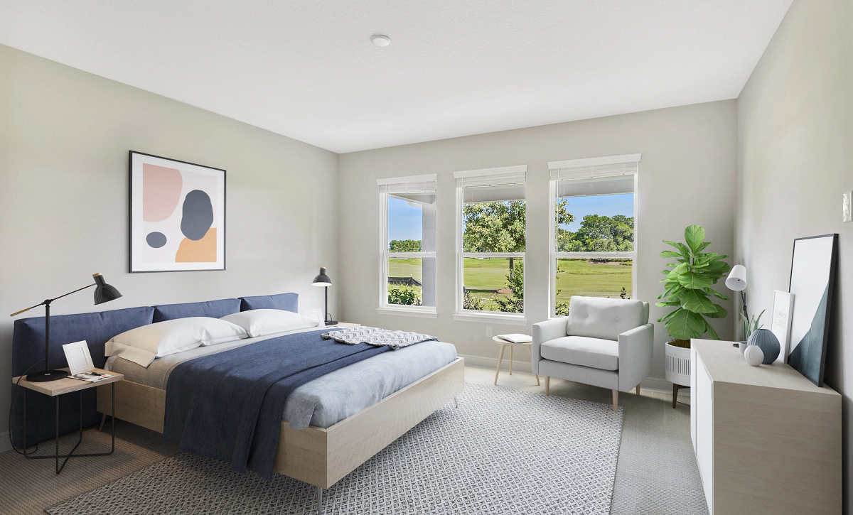 Trilogy at Ocala Preserve Liberty Quick Move In Virtually Staged Master Bed