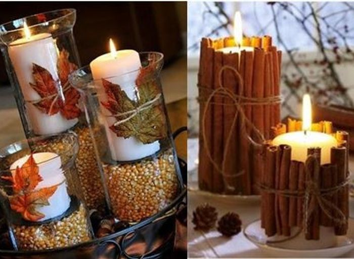 Harvest centerpieces, votives, and candles