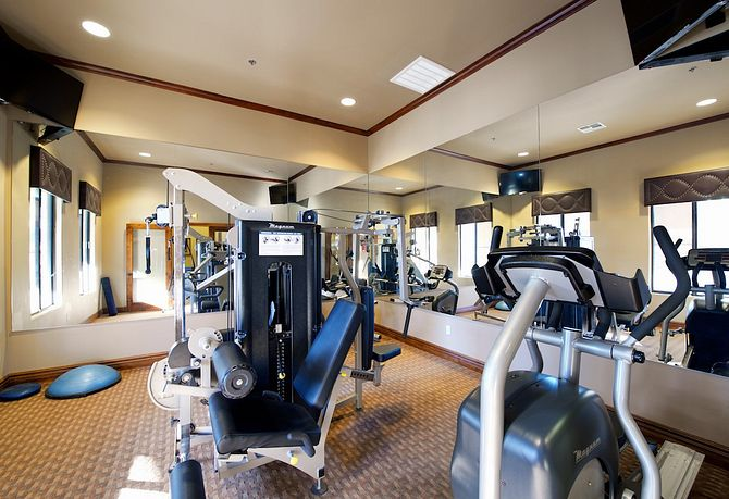 Exercise room with equipment