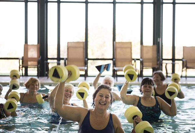 Ladies in Water Aerobics Class