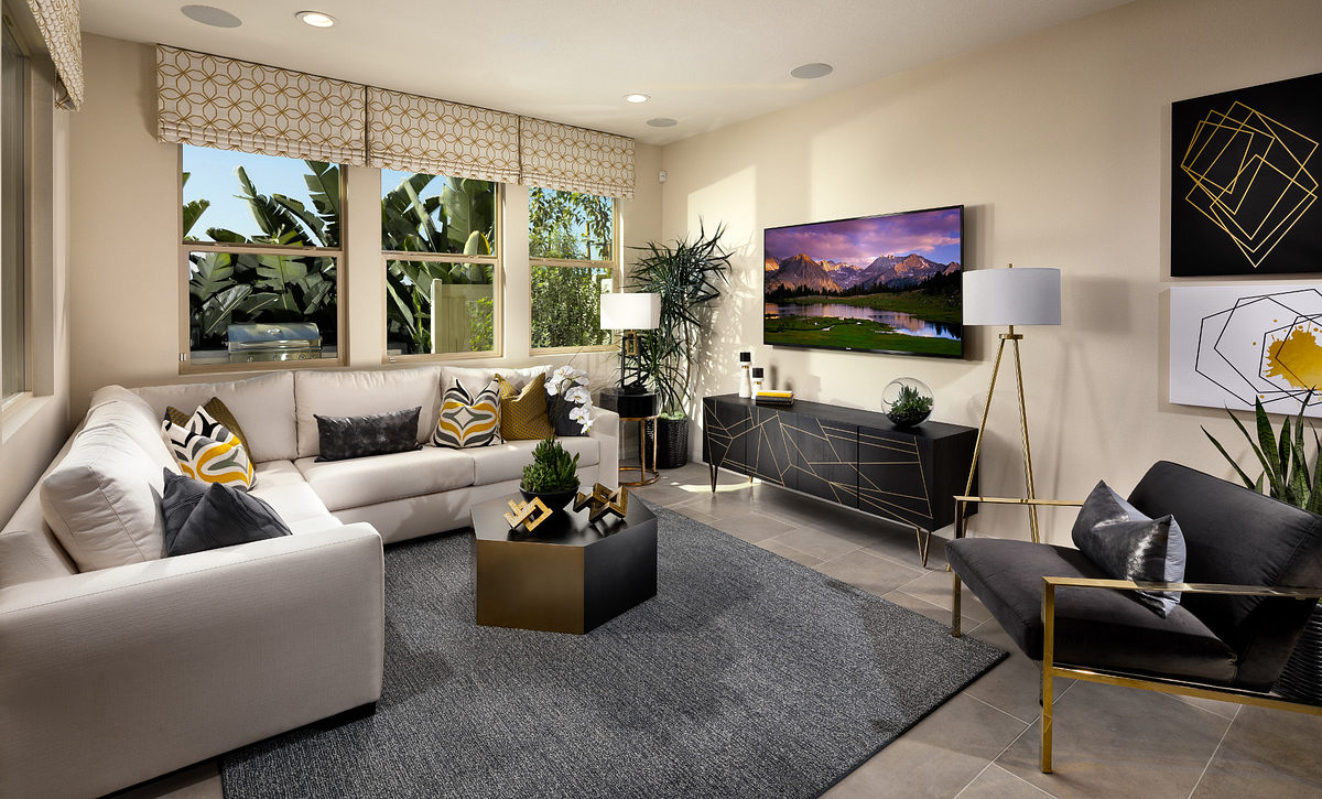 Plan 3 living room with sofa, coffee table, television, media cabinet, area rug, and wood floors