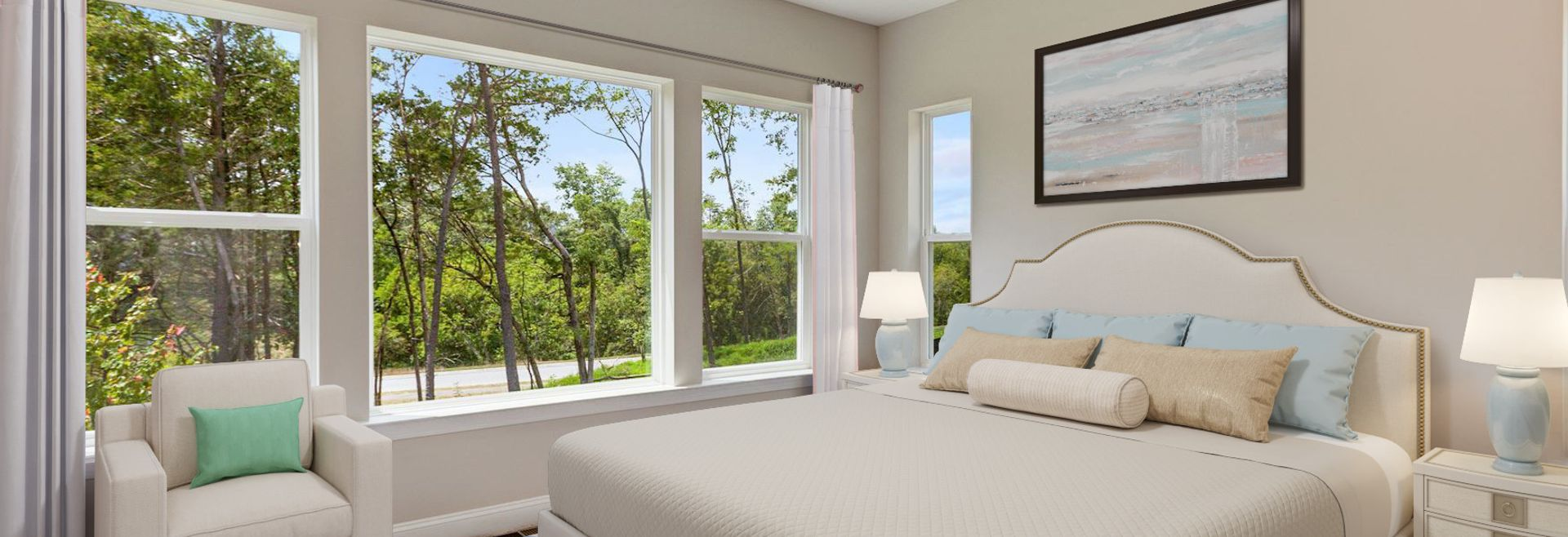Trilogy at Lake Frederick Quick move In home Hensely Plan Virtually Staged Master Bed