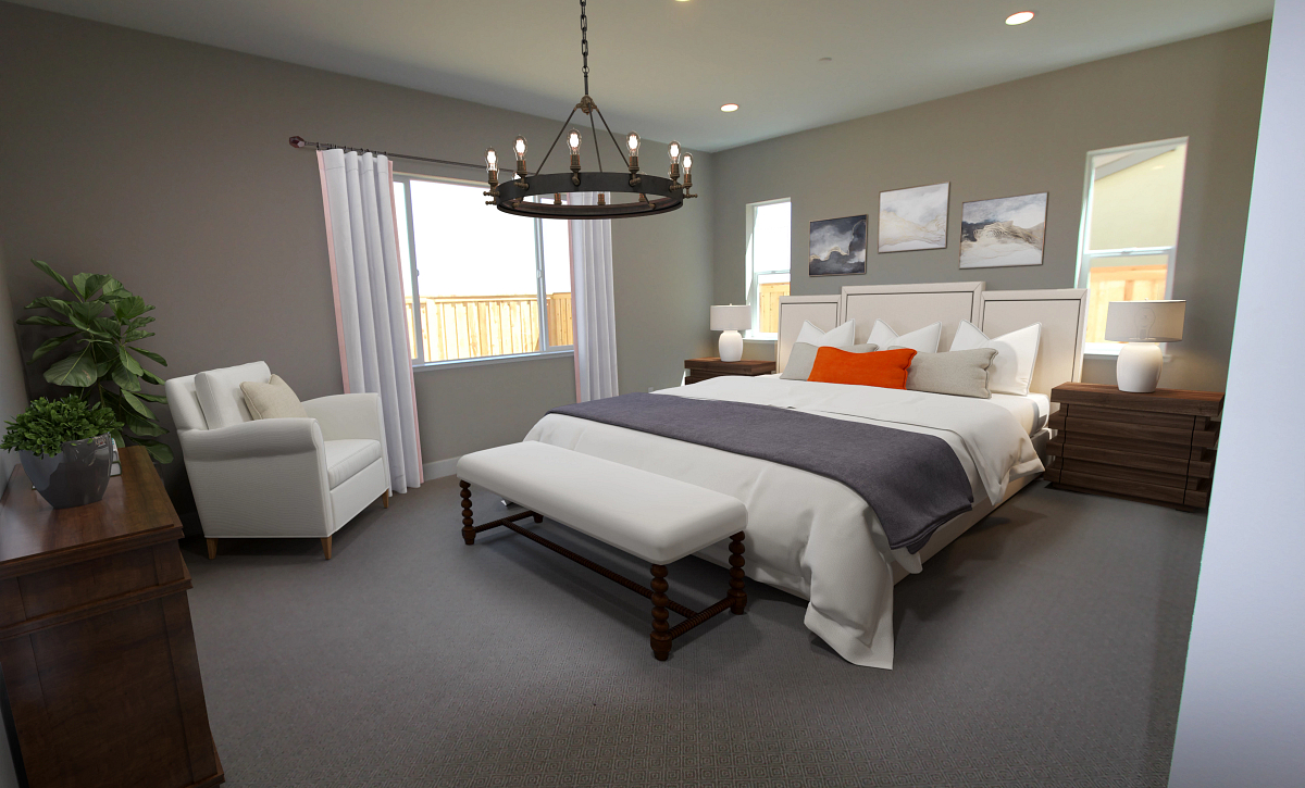 Plan 1 Primary Bed Virtual Staging