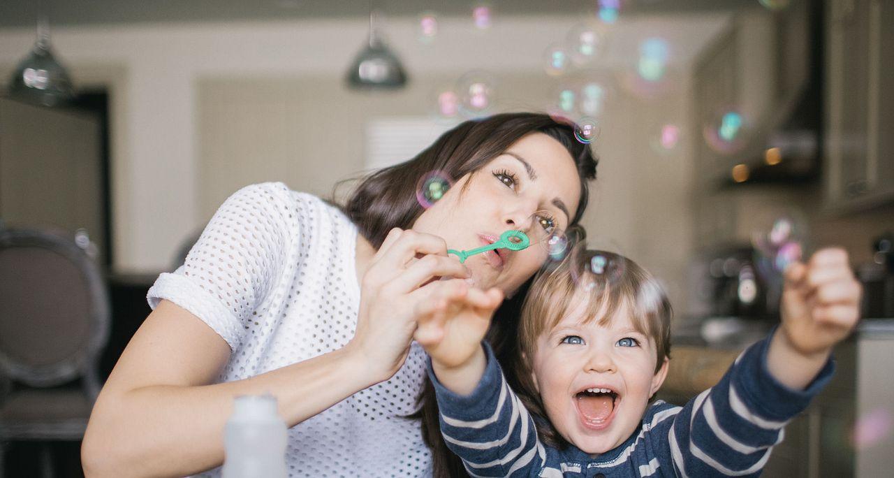 Family Joy Happy Bubbles Mom Kid