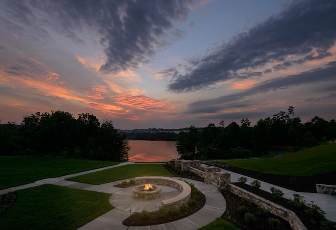 Lakeside firepit with lake view