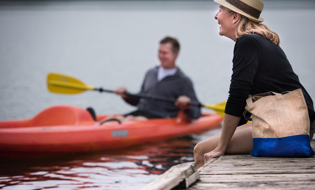 Couple Kayaking on Lake Frederick