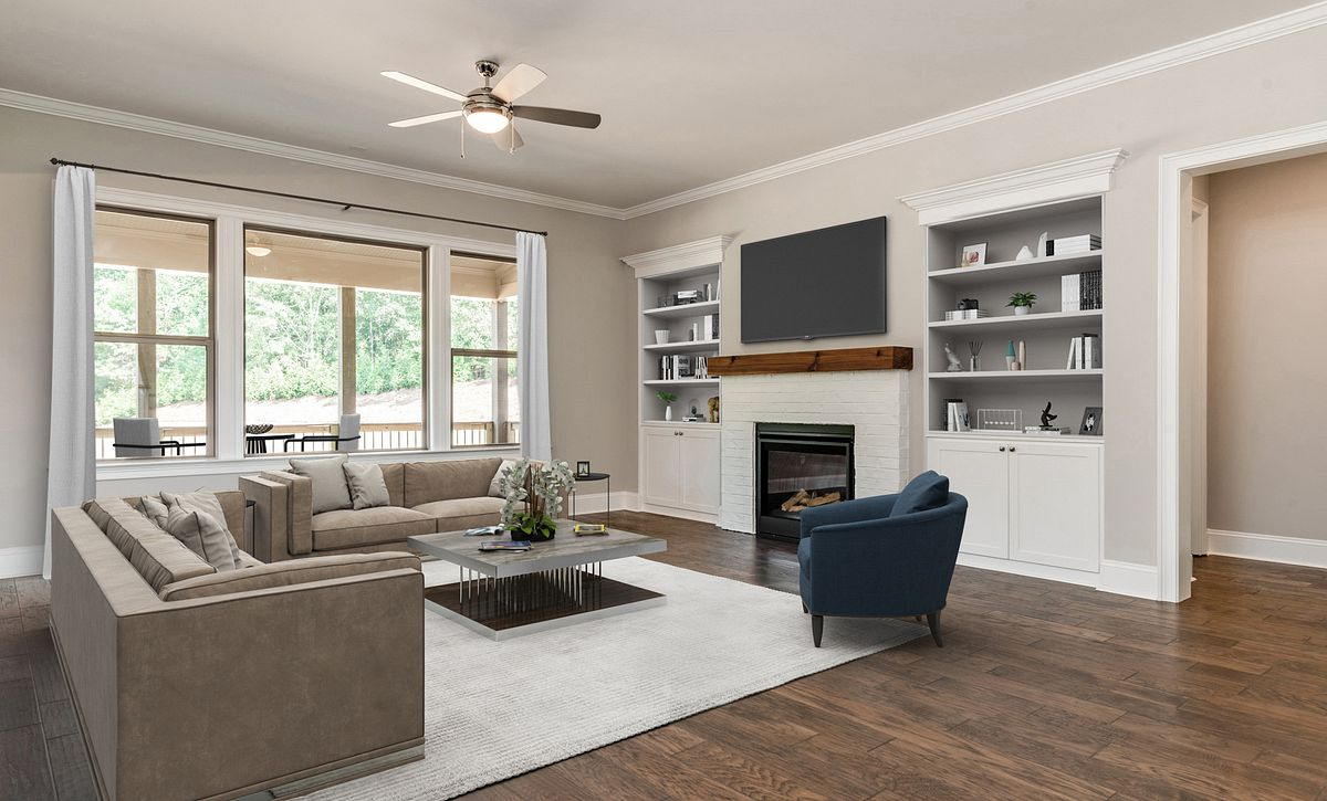 Sycamore plan Family Room staged