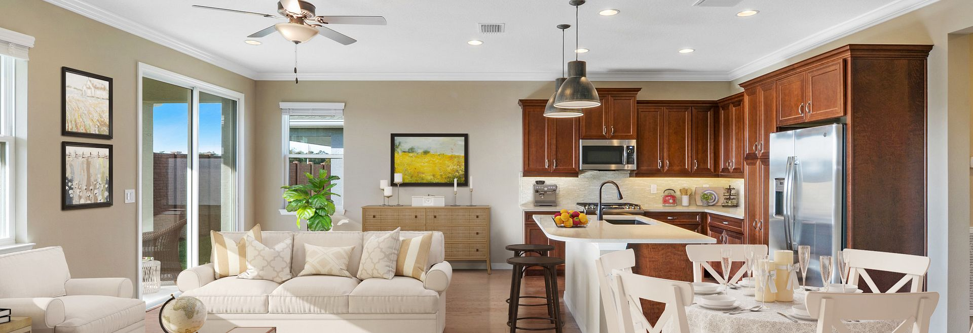 Trilogy at Ocala Preserve Aria Quick Move In Home Virtually Staged Great Room