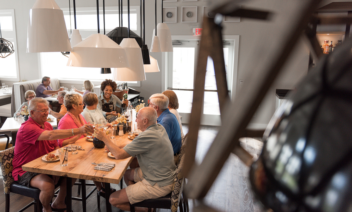 Group of people dining in the Foundry