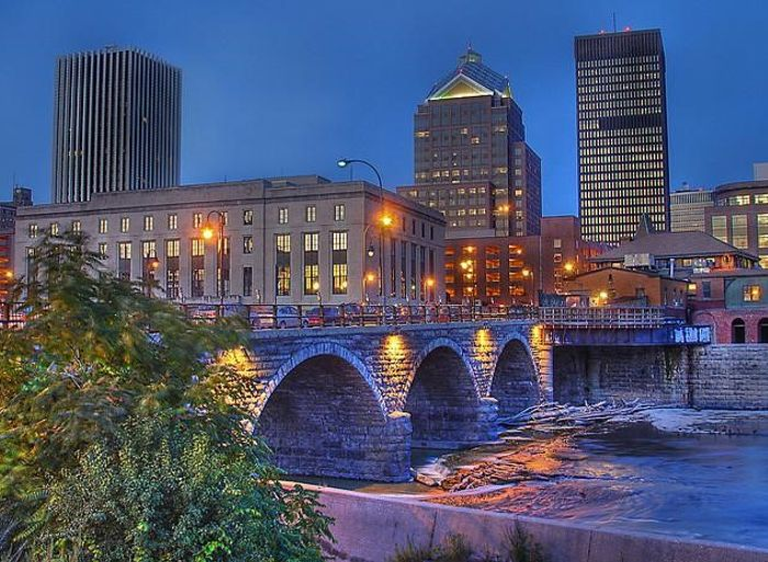 City view of Rochester, New York at night