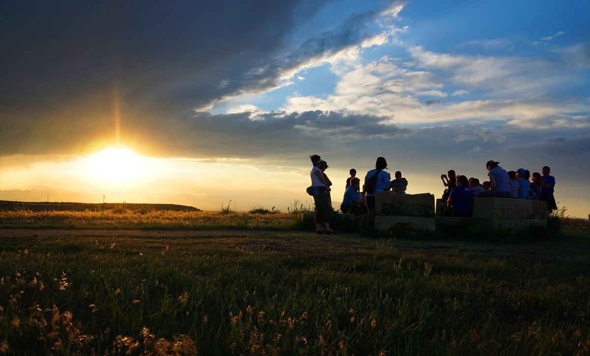 Lyric Sunset People Hiking Mountains