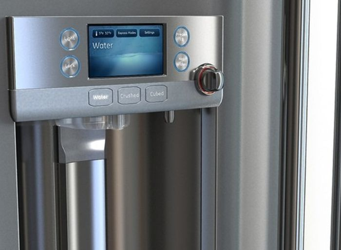 "Closeup of refrigerator with ""hot"" options"