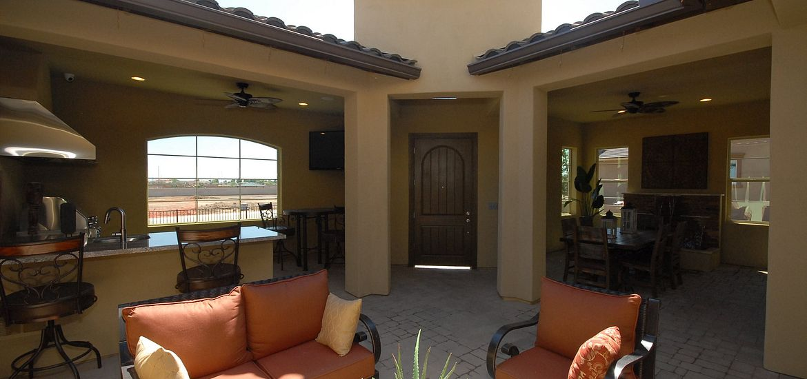 Styled outdoor living and honey-toned wood at Evolve at Marbella Vineyards in Gilbert, AZ (Thrive Plan)