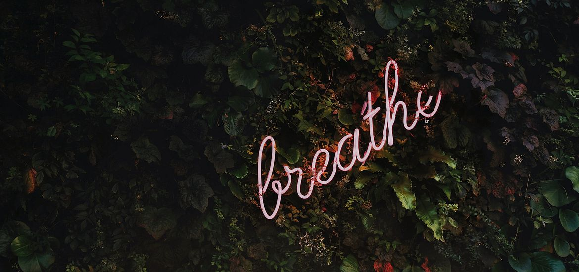 Neon sign that says breathe.