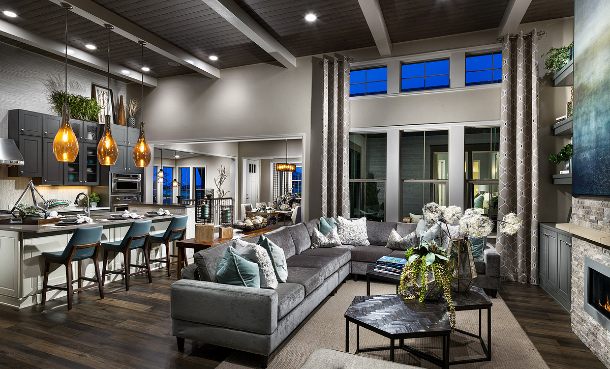BackCountry Painted Sky Indigo Mist Great Room and Kitchen
