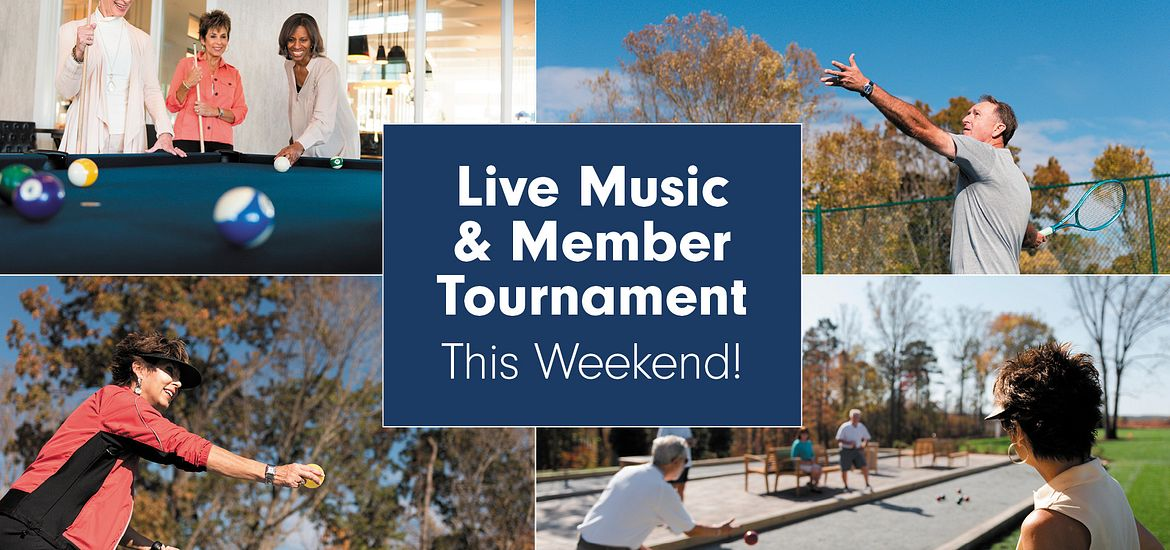 four pictures highlight activities speaking to live music and member tournament