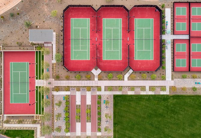 Aerial View of Tennis and Pickleball