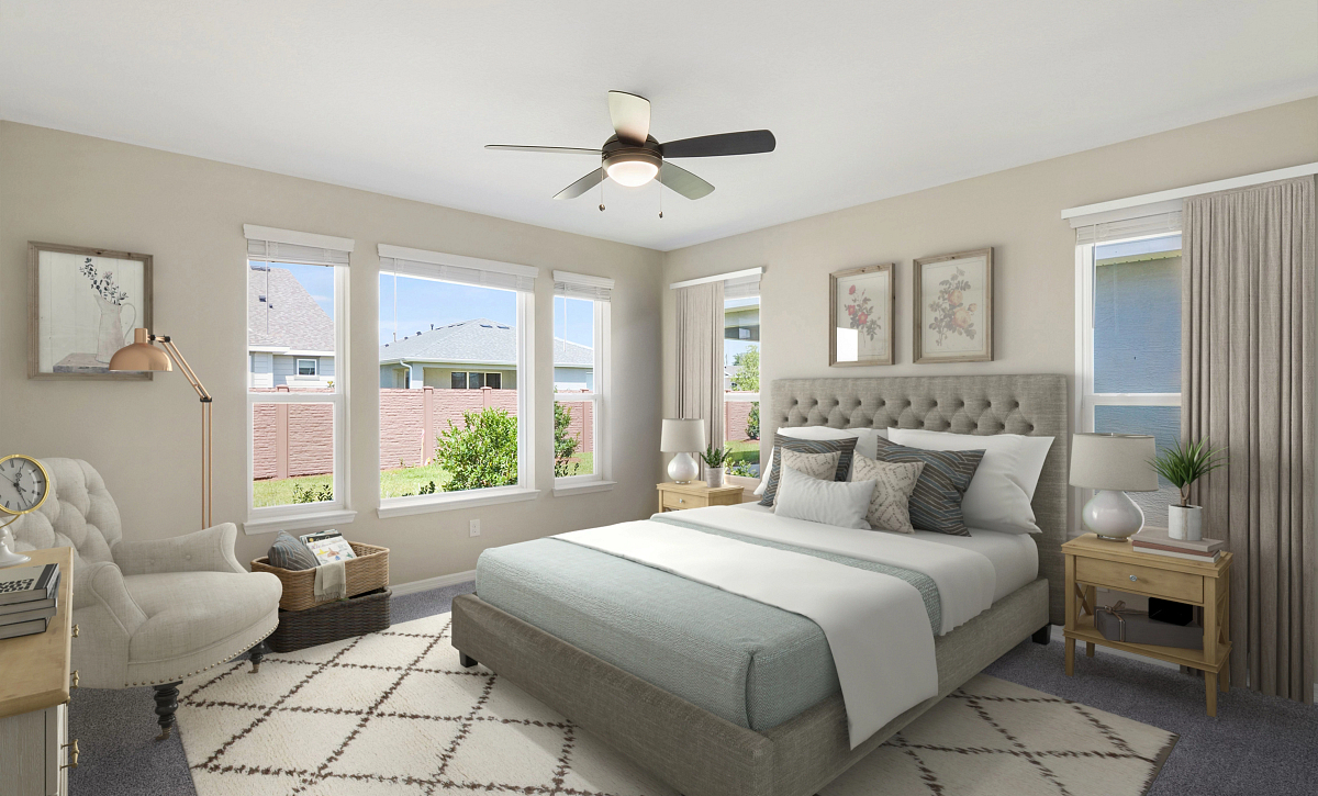 Trilogy at Ocala Preserve Quick Move In Home Virtually Staged Master Bed