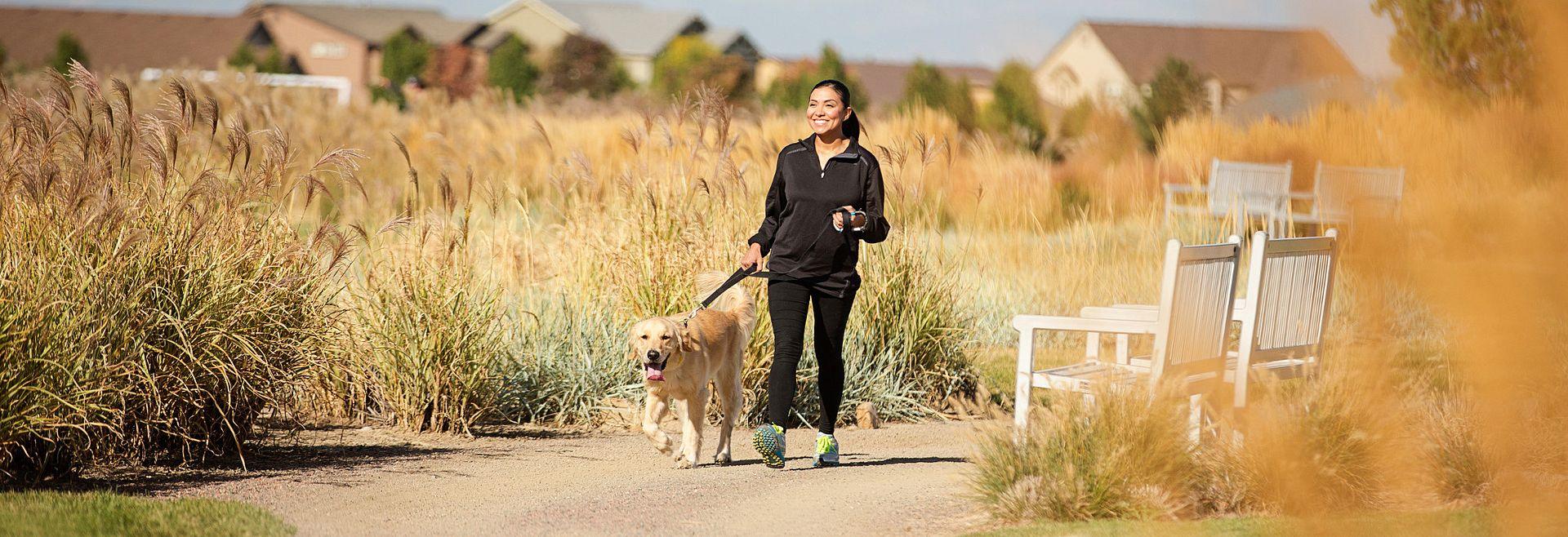 Reunion Community Woman Dog Walking Trails
