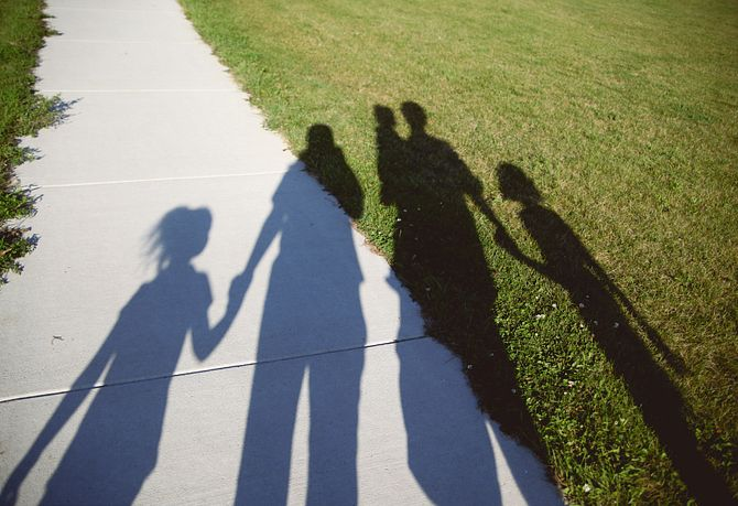 Walking Paths Shadow of Family Photo