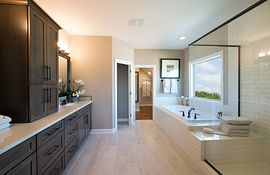 Master bathroom with dark cabinets, linen closet, large tiled shower and soaking tub