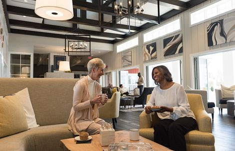 Ladies enjoying coffee in the Grand Living Room