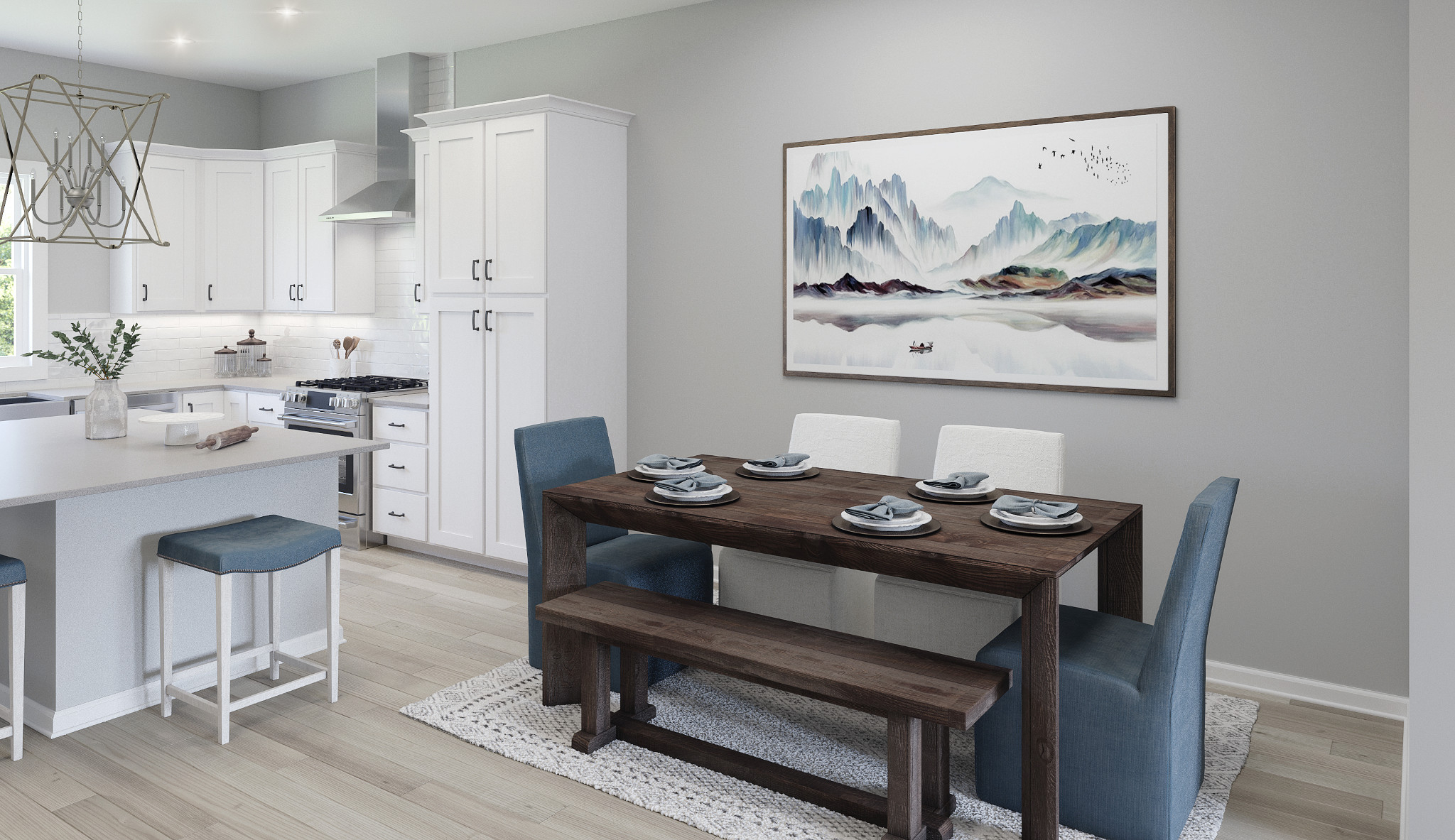 Hudson plan kitchen and dining room