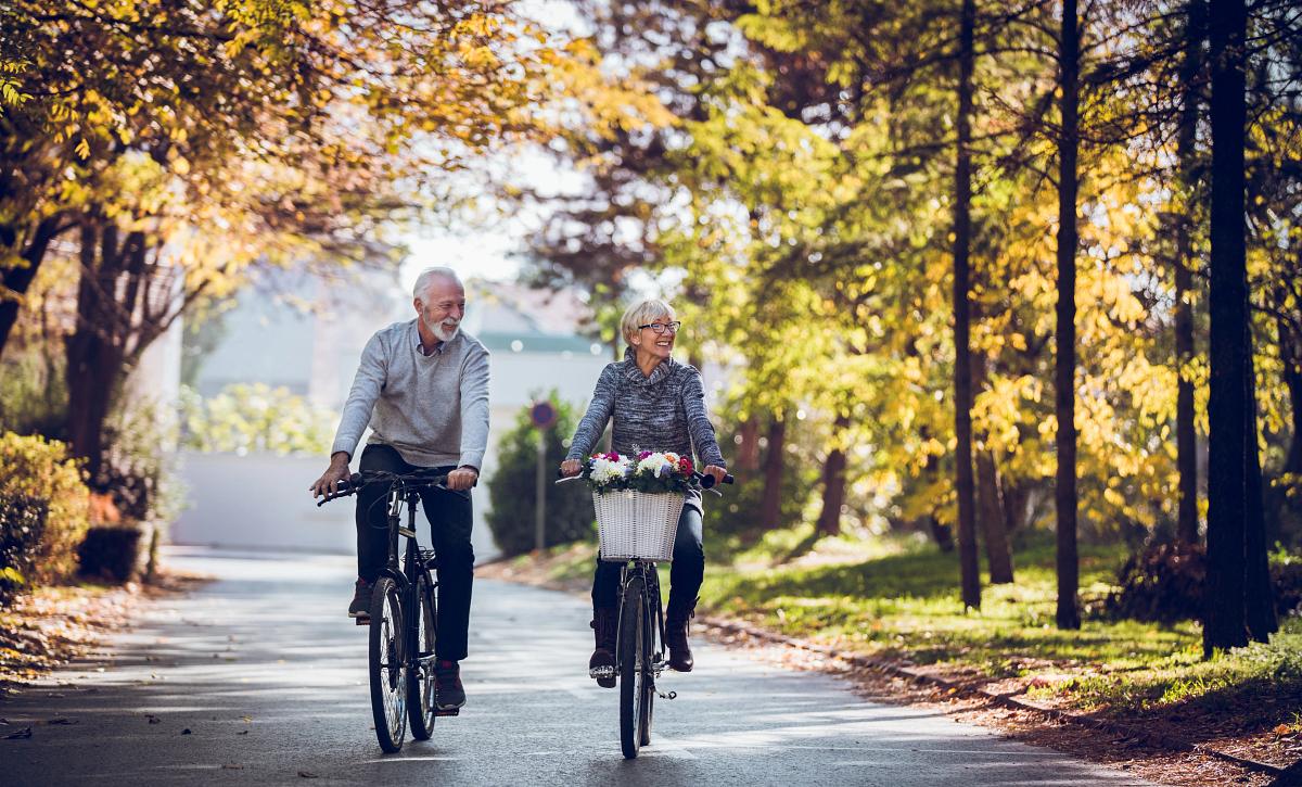 Man & Woman Biking