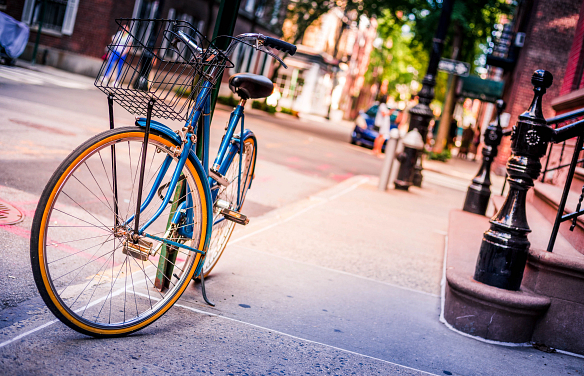Lyric Blue Bicycle Outside