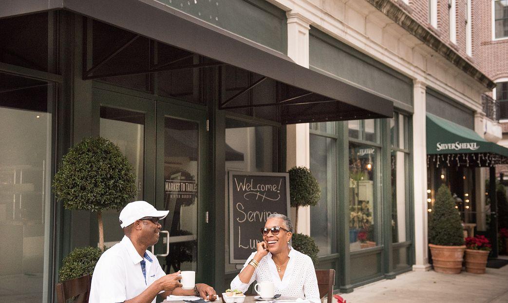 Couple outside restaurant