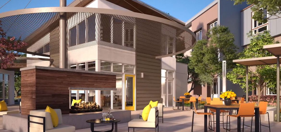 Outdoor patio area at Club at Theory at Innovation