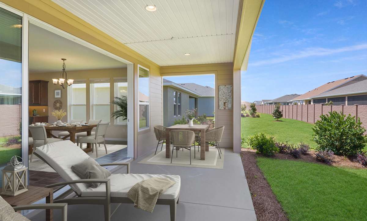 Trilogy at Ocala Preserve Quick Move In Home Virtually Staged Covered Lanai