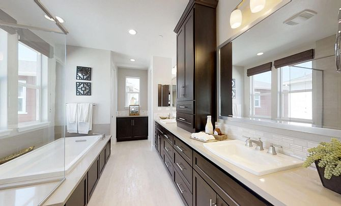 Plan 1 master bathroom with soaking tub, walk in shower, and double vanity