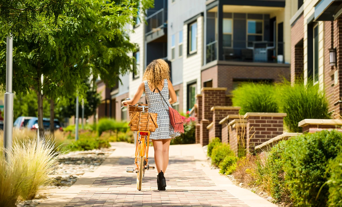 Lyric Woman Bike Urban Sidewalk Trees