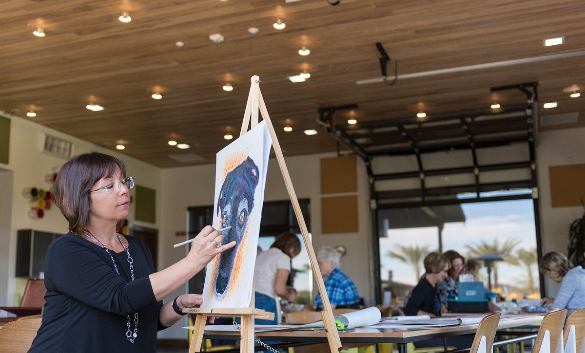 Woman Painting Dog