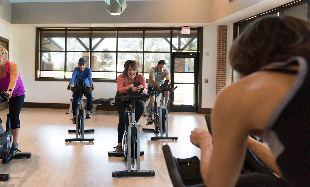 Group of people in a spin class