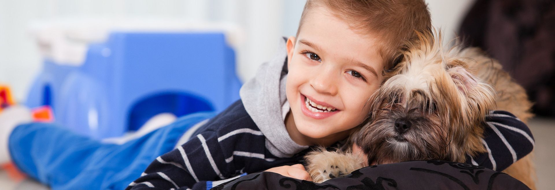 Boy Playing with Dog in Home