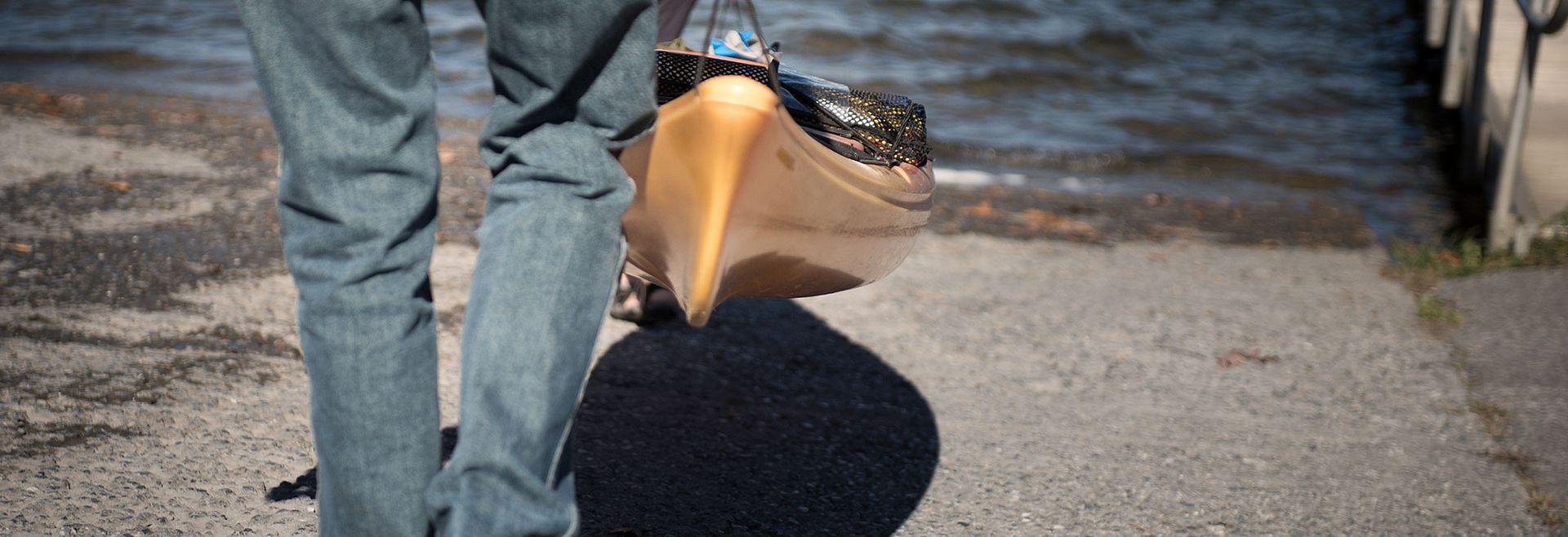 Couple taking a kayak on the lake